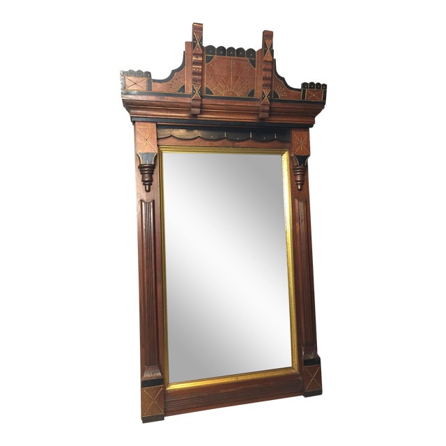 Antique Eastlake Heavy Carved Wall Mirror For Sale