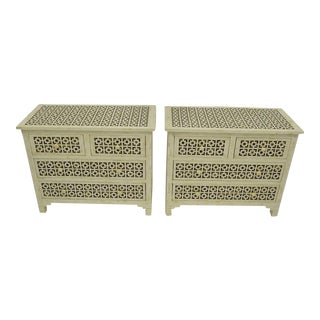 Mosaic Inlaid Bone Nightstands - Set of 2 For Sale