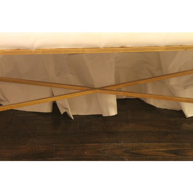 Contemporary Worlds Away White Tufted Leatherette Gold Faux Bamboo Bench For Sale - Image 3 of 12