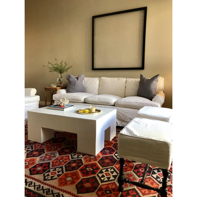Contemporary Modern White Plaster Rectangular Coffee Table For Sale - Image 3 of 3