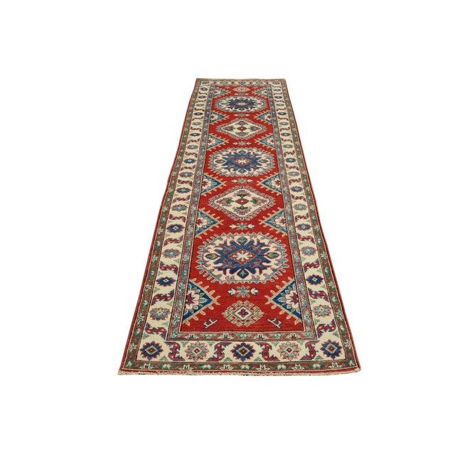 "Kazak Garish Zane Red Ivory Wool Rug - 2'"" x 9'9"" For Sale In New York - Image 6 of 8"