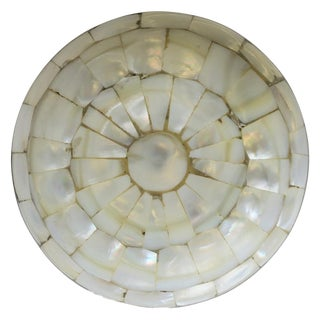 Mother-Of-Pearl and Brass Round Box For Sale