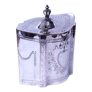 Georgian Style English Silver on Copper Sheffield Tea Caddy For Sale