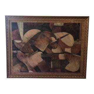Abstract Art Print in Gold Frame For Sale