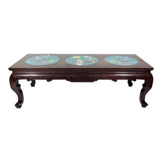 Mid 20th Century Chinese Solid Rosewood & Blue Cloisonné Panel Coffee Table With Flowers and Vases For Sale