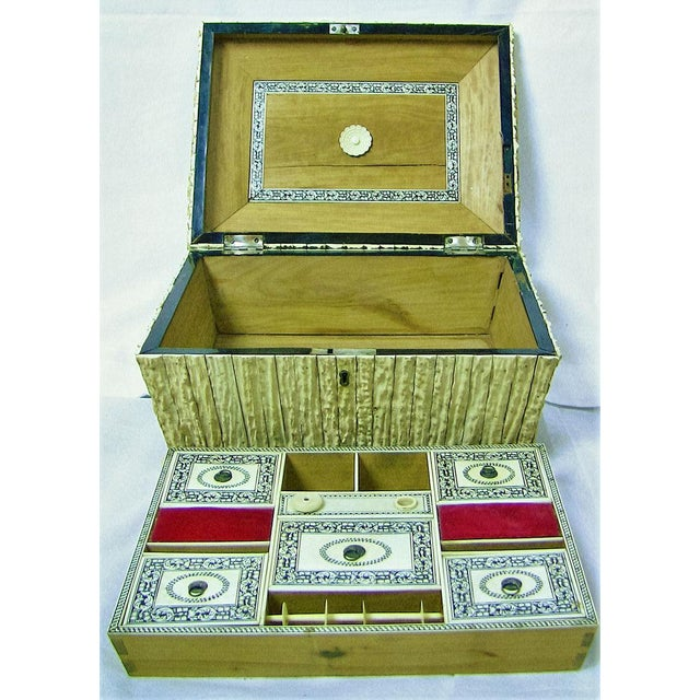 Mid 19th Century 19c Anglo Indian Vizagapatam Stag Antler Horn Sewing Box - Exceptional For Sale - Image 5 of 11