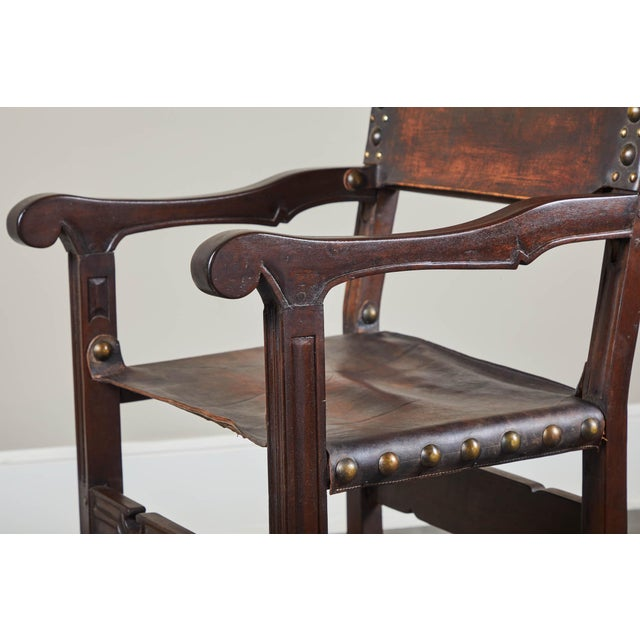 20th C. South American Armchairs W/ Leather Seat & Back - a Pair For Sale In Los Angeles - Image 6 of 12