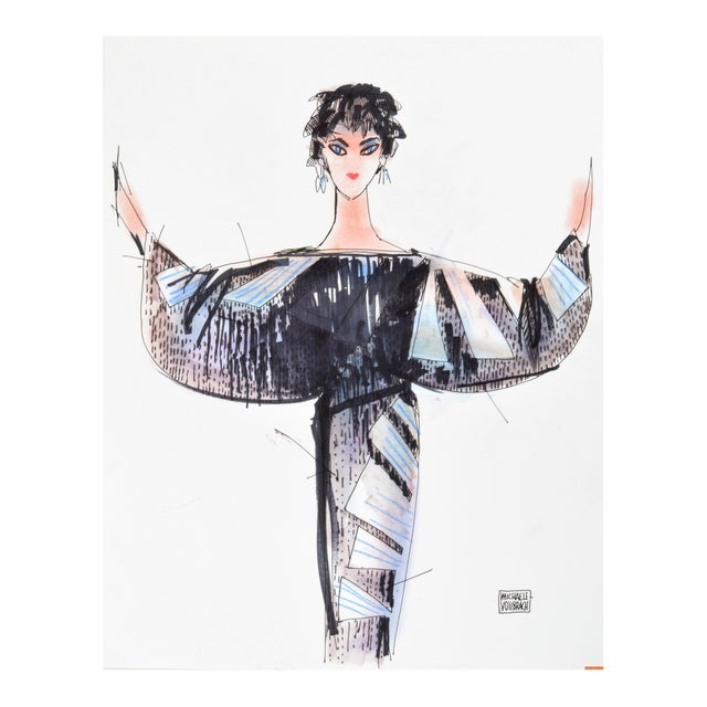 """Liz Taylor"" Fashion Drawing by Michaele Vollbracht For Sale"