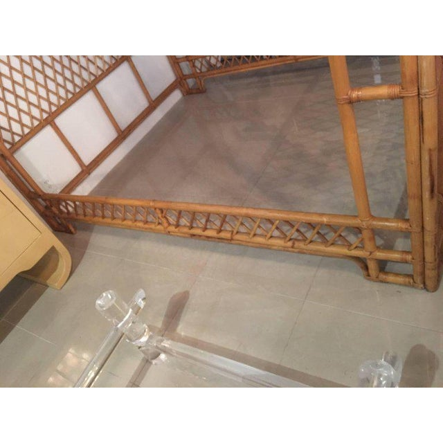 Rattan Bamboo Chinese Chippendale Queen Canopy Bed For Sale - Image 10 of 12