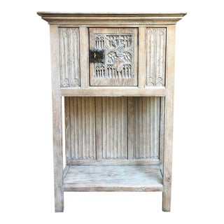 Antique French Carved Oak Gothic Vestment Cabinet Bleached Stripped Pickle Washed For Sale