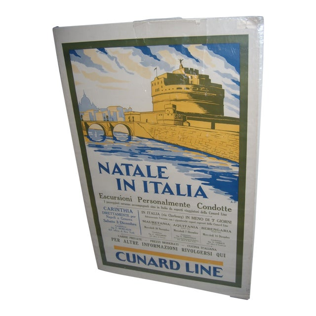 Original Vintage Cunard Line Italy Travel Poster - Image 1 of 3