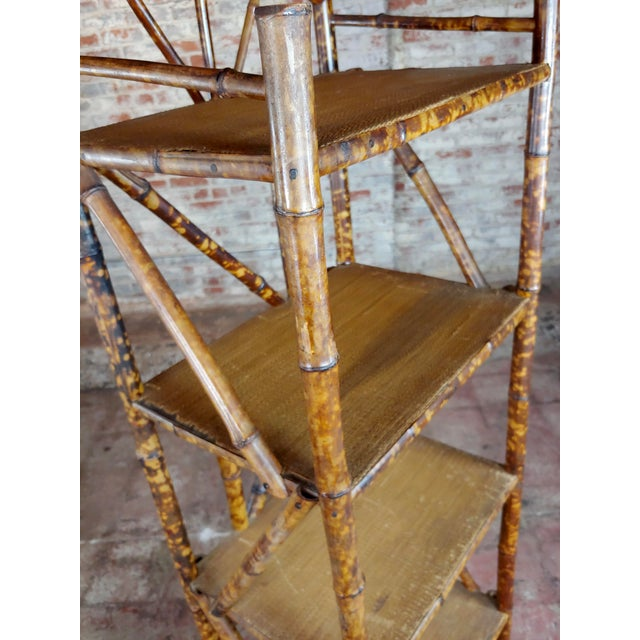 Brown 19th Century Original Victorian 5 Tier Bamboo Bookstand For Sale - Image 8 of 9