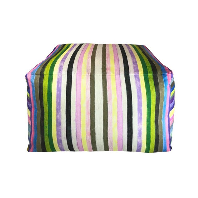Contemporary Striped Pouf For Sale