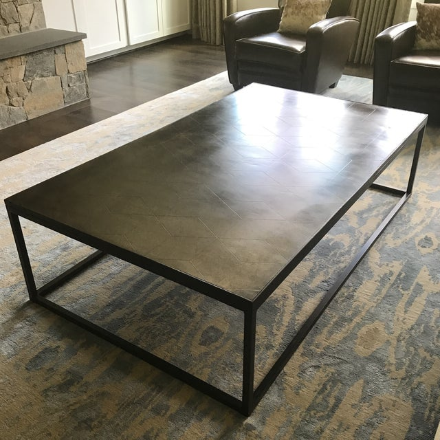 Restoration Hardware Metal Parquet Coffee Table - Image 5 of 5