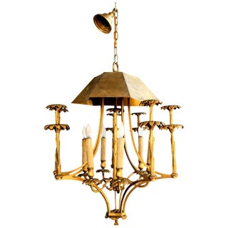 Bronze Chinoiserie Style or Pagoda Palm Tree Six-Light Chandelier For Sale