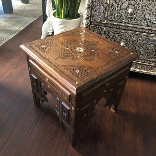 Moroccan Hand Carved Table With Touch of Mother of Pearl. Preview