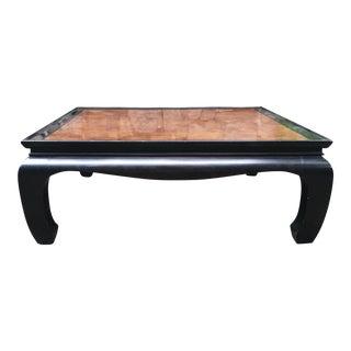 1970s Ming Century Black Burlwood Coffee Table For Sale