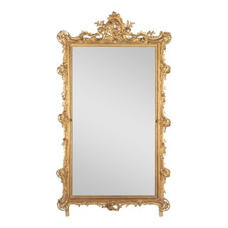19th C. French Louis XV Style Gilded Mirror For Sale