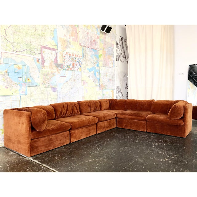 Orange Eight Piece Modular Sofa by Milo Baughman for Thayer Coggin For Sale - Image 8 of 13