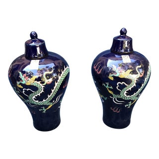 Chinese Chinoiserie Colorful Dragon Jars - a Pair