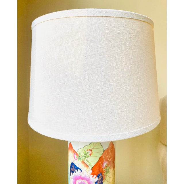 1980s Porcelain Tobacco Leaf Table Lamp For Sale - Image 9 of 13