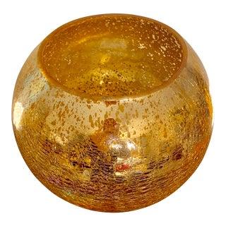 Round Crackled Finish Mercury Gold Leaf Glass Vase / Candle Holder For Sale