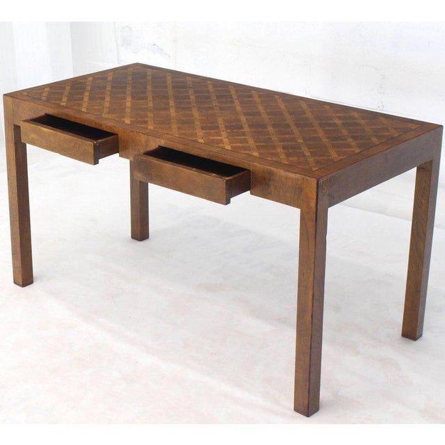 Mid-Century Modern Italian Parquet Marquetry Burl Walnut Top Parsons Desk Writing Table Two Drawers For Sale - Image 3 of 10