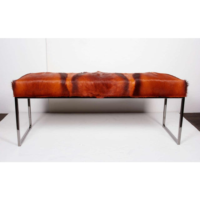 Orange AFRICAN SPRINGBOK FUR BENCH IN VIBRANT BURNT-ORANGE For Sale - Image 8 of 11