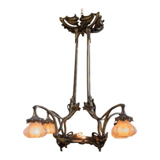French, Art Nouveau Bronze Chandelier with Glass Shades and Diffuser, Circa 1900 For Sale
