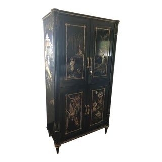Late 20th Century Vintage Black Lacquered Chinoiserie Armoire