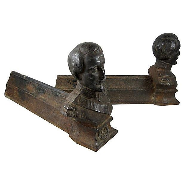 Cast Iron Napoleon Fireplace Andirons - A Pair For Sale