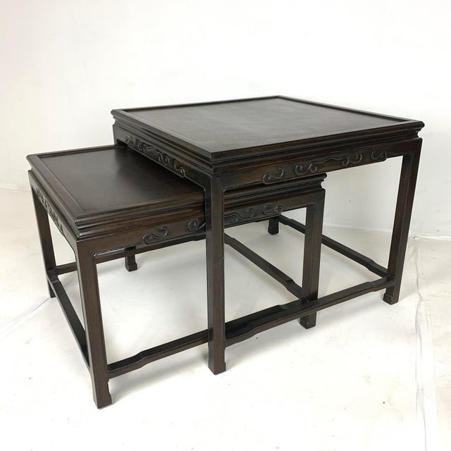 Pair of Mario Buatta for Widdicomb Asian Chinoiserie Ebonized Nesting Tables For Sale - Image 10 of 13