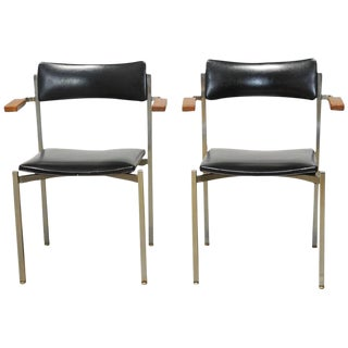 Frederic Weinberg Mid-Century Steel Armchairs - a Pair For Sale