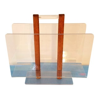 Grosfeld House Mid-Century Modern Lucite Magazine Rack For Sale