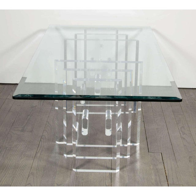 Sophisticated Mid-Century Modern Lucite and Glass Cocktail Table For Sale In New York - Image 6 of 9