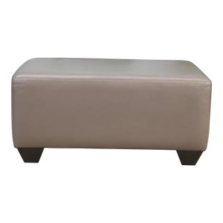 Modern Oyster Gray Leather Ottoman For Sale