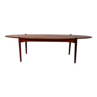 1960s Danish Modern International Designers Group Teak Surfboard Cocktail Table For Sale