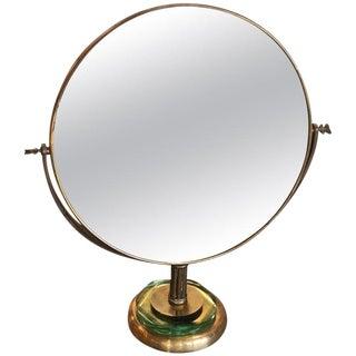 Italian Brass Vanity or Tabletop Mirror, 1934