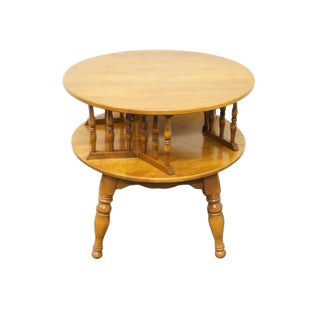 20th Century Traditional Ethan Allen Heirloom Nutmeg Maple Round Revolving Bookcase Table For Sale