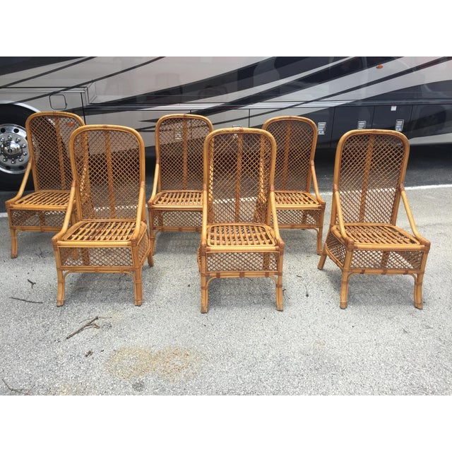 Set of 6 Brighton Pavilion high back rattan chairs. The bamboo seats are in very condition with no damage. These can be...