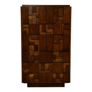 Brutalist Tall Armoire Dresser by Lane