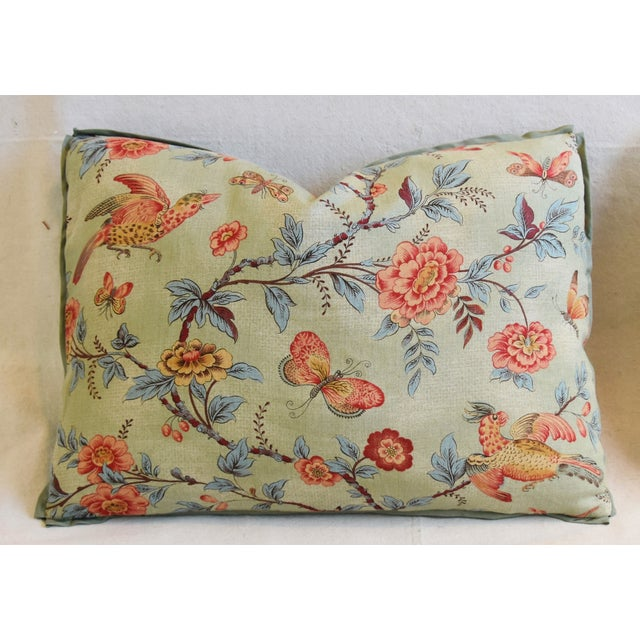 "Early 21st Century Designer Jasper Wallace Floral Vine Feather/Down Pillows 23"" X 16"" - Pair For Sale - Image 5 of 13"