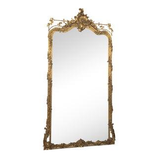 Antique French Fine Quality Trumeau Mirror, Original Gold Leaf, Circa 1850-1860.