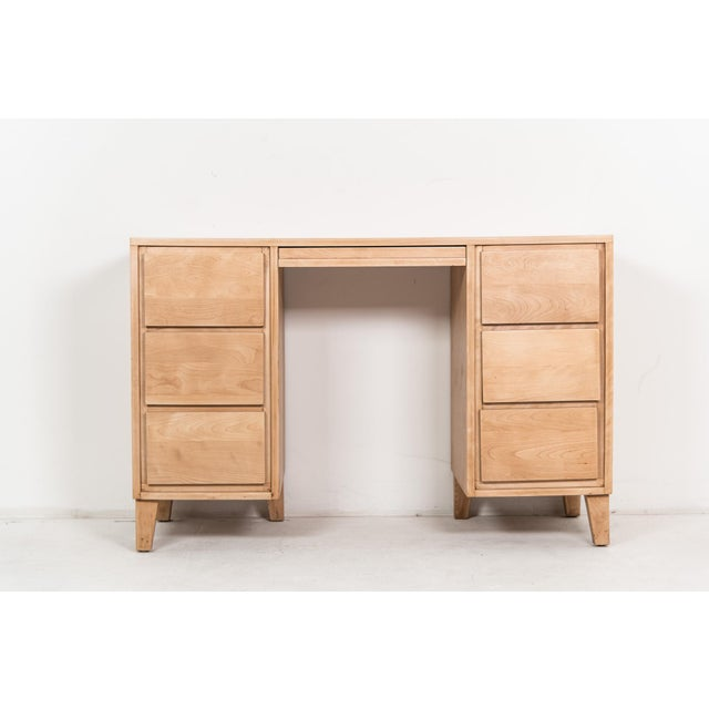 Russel Wright for Conant Ball desk, maple, Mondernmates / American Modern line. Solid maple, blonde color. Has been...
