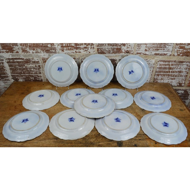 Late 19th Century 19th Century English Ironstone Blue and White Chinoiserie Plates- Set of 12 For Sale - Image 5 of 13