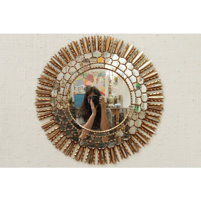 Mid Century Gilt Sunburst Mirror For Sale In New York - Image 6 of 6