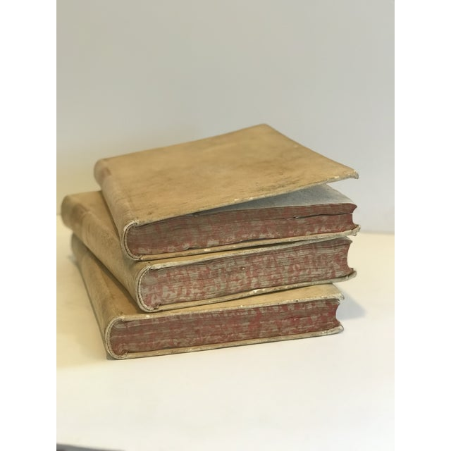 Shabby Chic 18th Century Vellum Books - Set of 3 For Sale - Image 3 of 8
