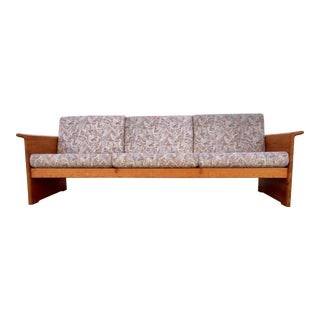 Vintage Danish Modern Cushioned Solid Teak Wood Sofa For Sale