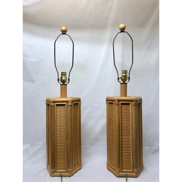 1960s Vintage Coastal Style Rattan & Wicker Lamps- Set of 2 For Sale - Image 10 of 10