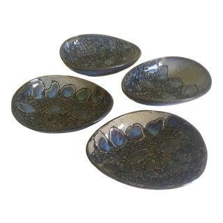 Vintage Mid-Century Modern Jepson Studio Pottery Pressed Teardrop Bowls - Set of 4